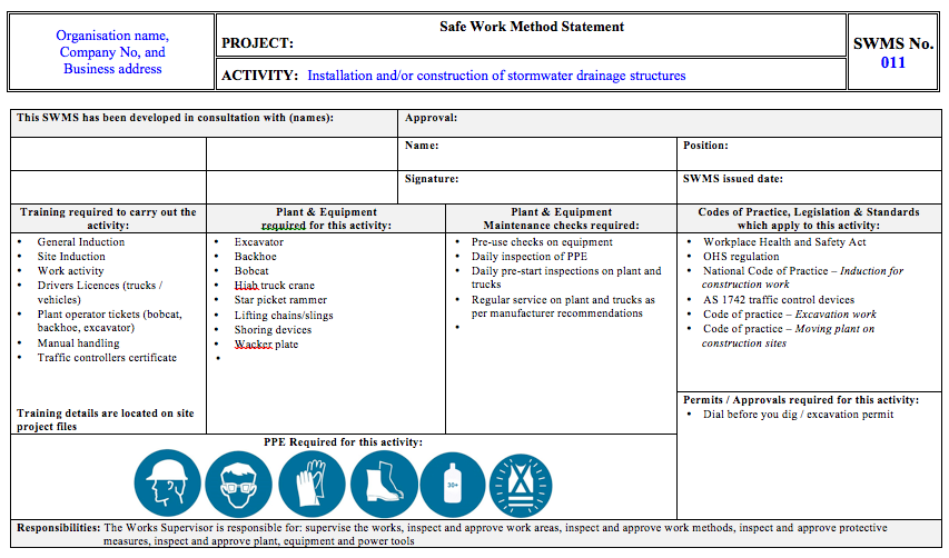 Work Method Statement Template