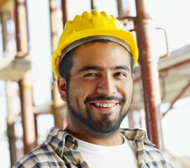 Construction Worker with Safety Helmet On - In Color